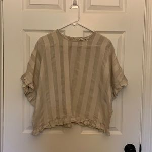 Zara basic linen cotton short sleeve cropped top